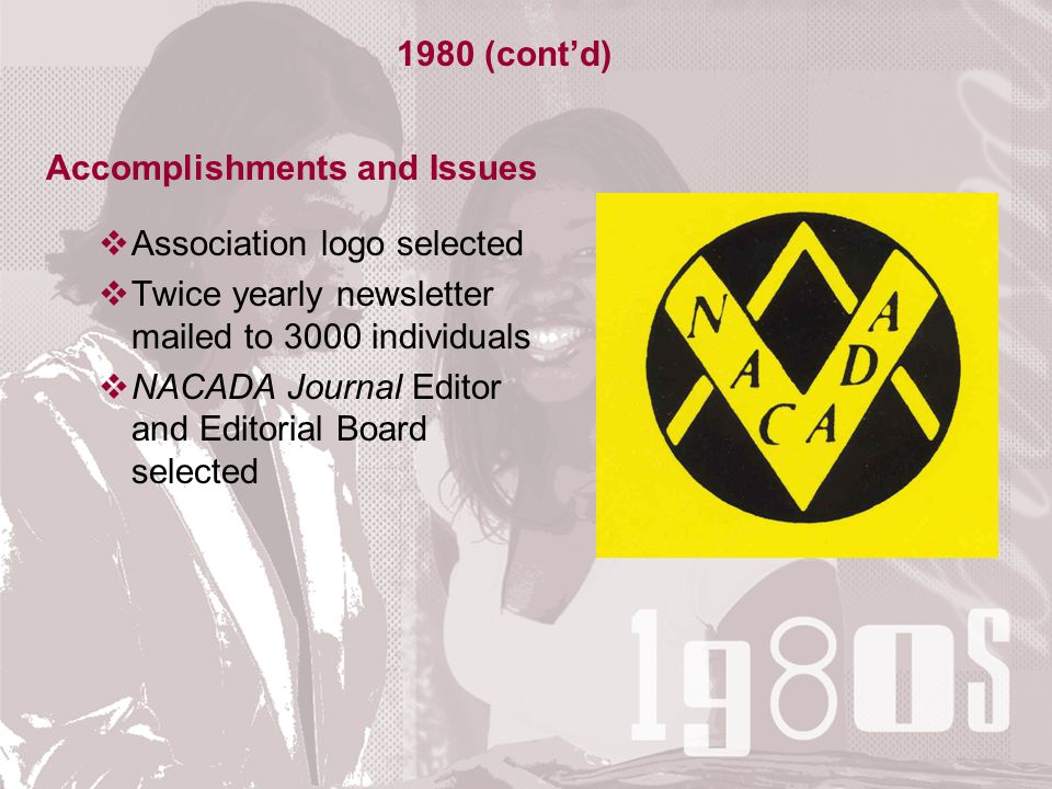 Accomplishments and Issues  Association logo selected  Twice yearly newsletter mailed to 3000 individuals  NACADA Journal Editor and Editorial Board selected 1980 (cont'd)