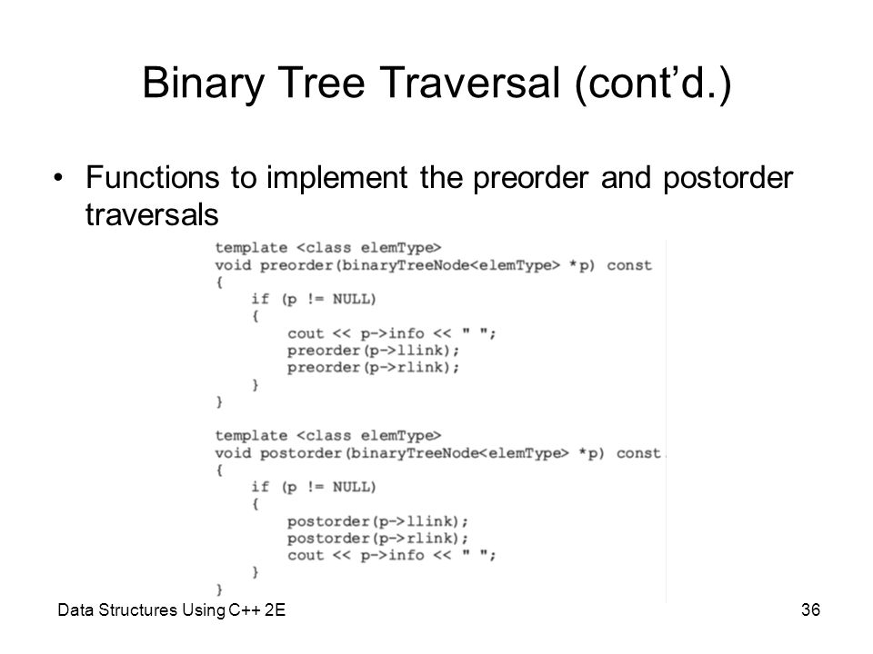 Data Structures Using C++ 2E36 Binary Tree Traversal (cont'd.) Functions to implement the preorder and postorder traversals