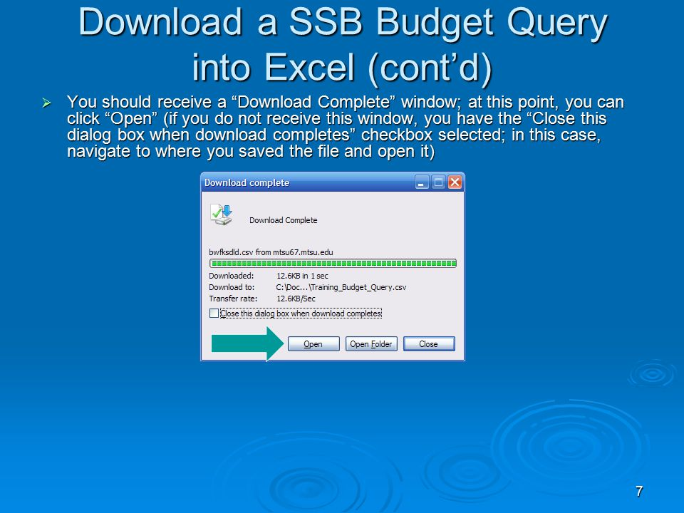 7 Download a SSB Budget Query into Excel (cont'd)  You should receive a Download Complete window; at this point, you can click Open (if you do not receive this window, you have the Close this dialog box when download completes checkbox selected; in this case, navigate to where you saved the file and open it)