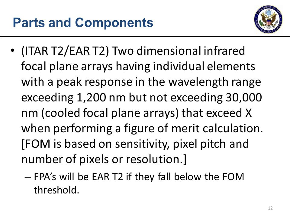 12 Parts and Components (ITAR T2/EAR T2) Two dimensional infrared focal plane arrays having individual elements with a peak response in the wavelength