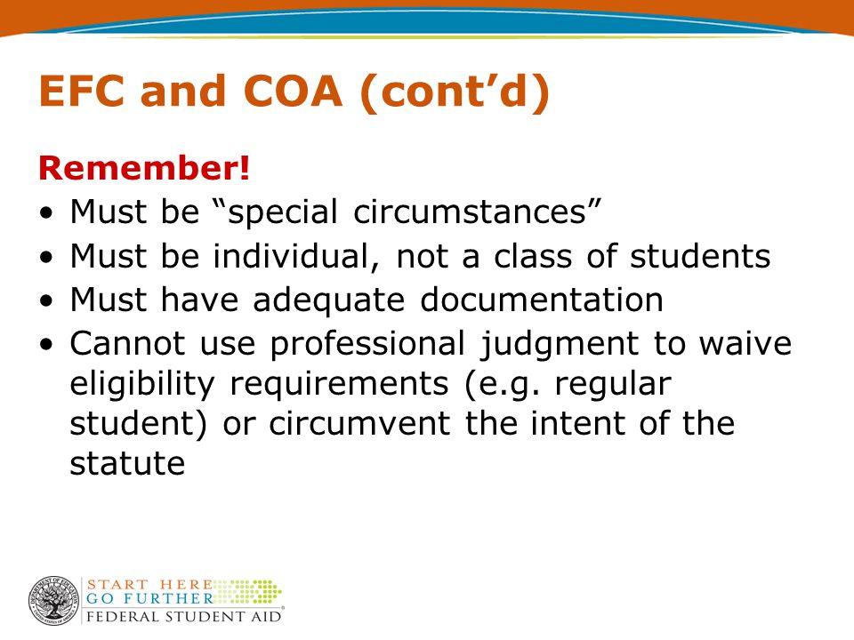 EFC and COA (cont'd) Remember.