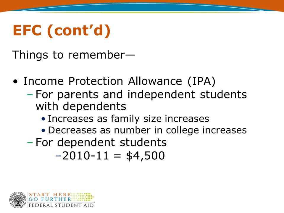 EFC (cont'd) Things to remember— Income Protection Allowance (IPA) –For parents and independent students with dependents Increases as family size increases Decreases as number in college increases –For dependent students –2010-11 = $4,500