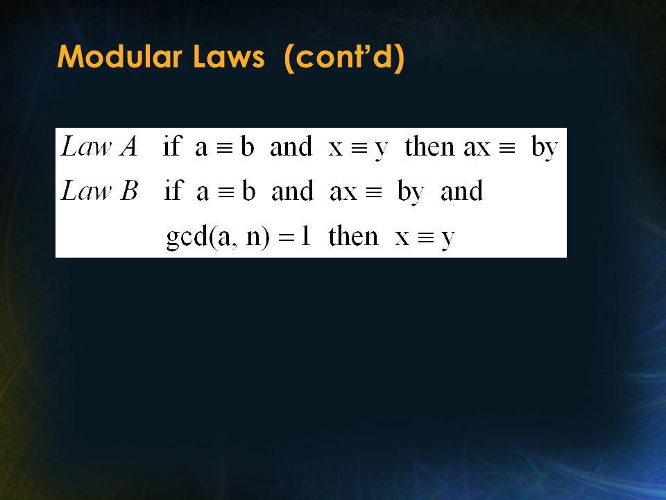 Modular Laws (cont ' d)