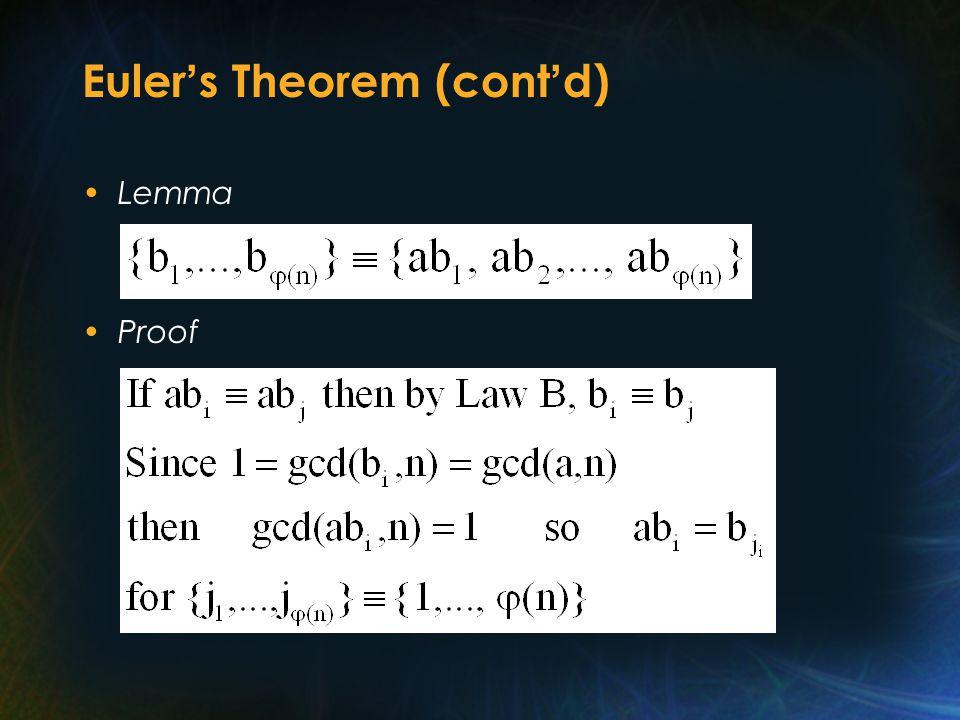 Euler ' s Theorem (cont ' d) Lemma Proof