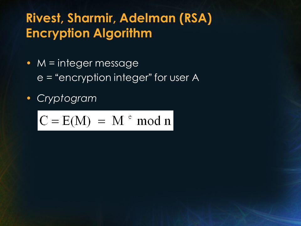 Rivest, Sharmir, Adelman (RSA) Encryption Algorithm M = integer message e = encryption integer for user A Cryptogram