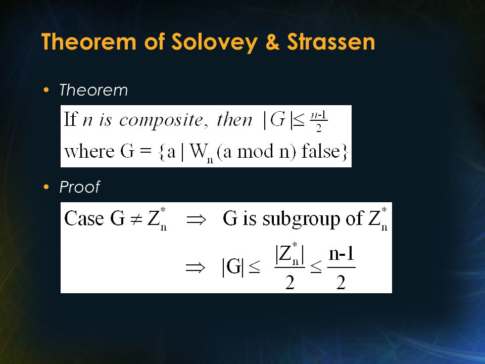 Theorem of Solovey & Strassen Theorem Proof