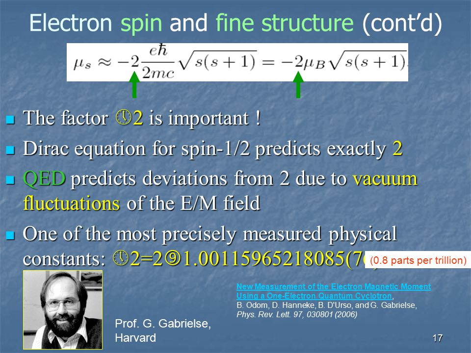 17 Electron spin and fine structure (cont'd) The factor  2 is important ! The factor  2 is important ! Dirac equation for spin-1/2 predicts exactly