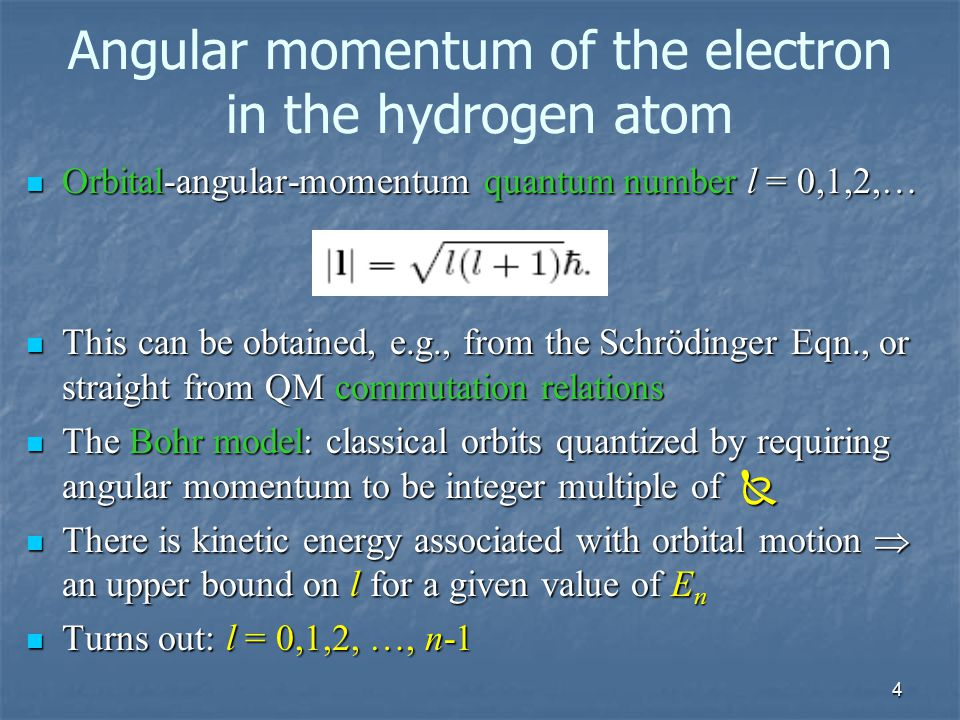 4 Angular momentum of the electron in the hydrogen atom Orbital-angular-momentum quantum number l = 0,1,2,… Orbital-angular-momentum quantum number l