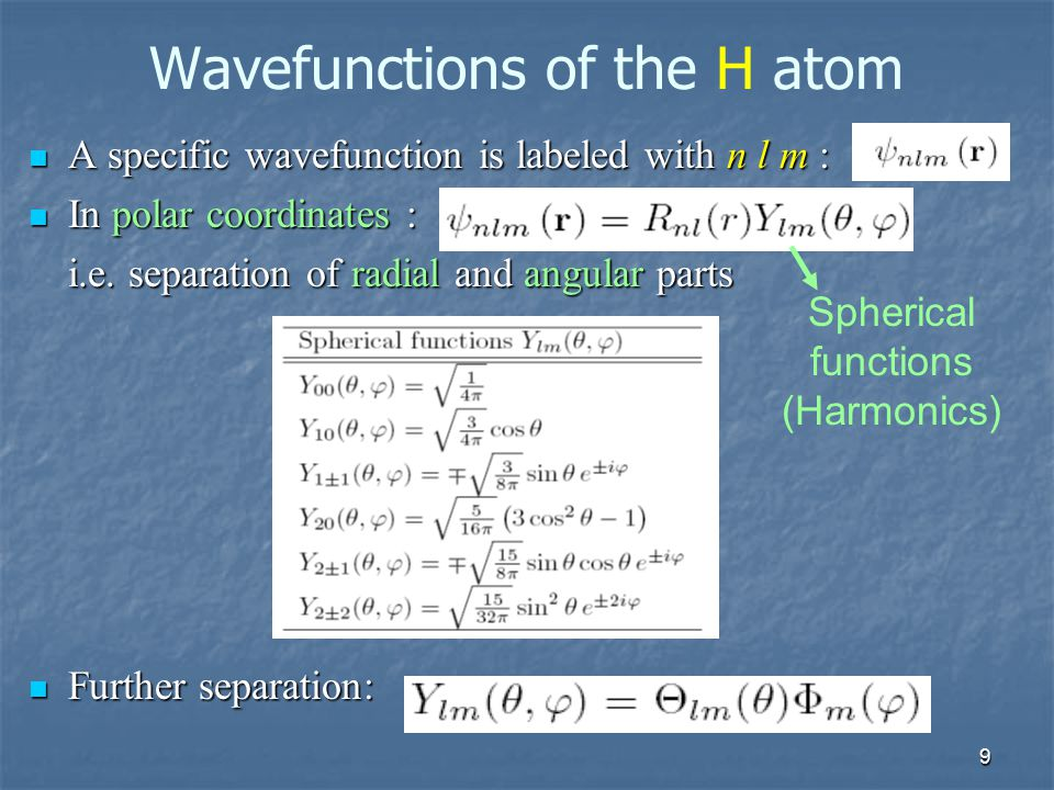 9 Wavefunctions of the H atom A specific wavefunction is labeled with n l m : A specific wavefunction is labeled with n l m : In polar coordinates : I