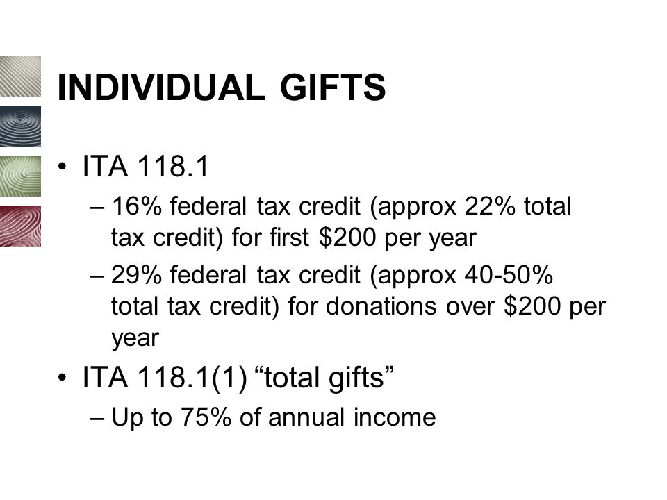 INDIVIDUAL GIFTS ITA 118.1 –16% federal tax credit (approx 22% total tax credit) for first $200 per year –29% federal tax credit (approx 40-50% total tax credit) for donations over $200 per year ITA 118.1(1) total gifts –Up to 75% of annual income