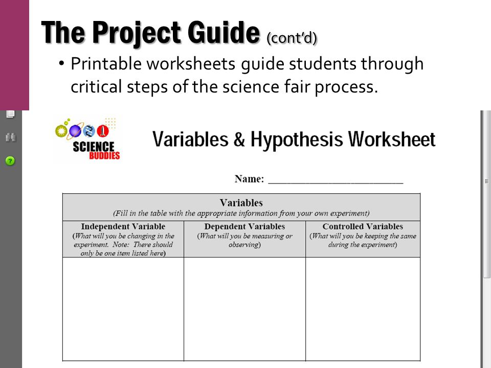 The Project Guide (cont'd) Printable worksheets guide students through critical steps of the science fair process.