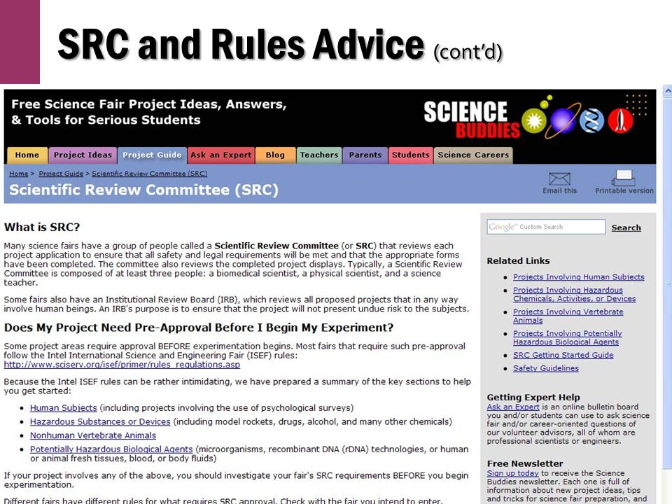 SRC and Rules Advice (cont'd)