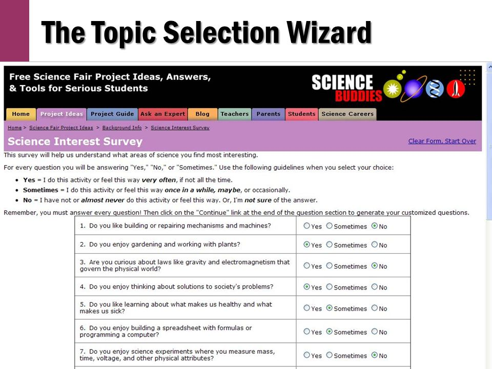 Topic Selection Wizard (cont'd)