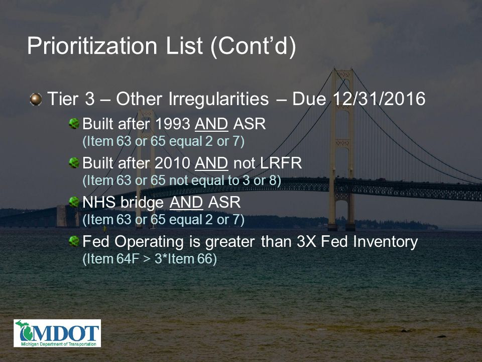 Prioritization List (Cont'd) Tier 3 – Other Irregularities – Due 12/31/2016 Built after 1993 AND ASR (Item 63 or 65 equal 2 or 7) Built after 2010 AND not LRFR (Item 63 or 65 not equal to 3 or 8) NHS bridge AND ASR (Item 63 or 65 equal 2 or 7) Fed Operating is greater than 3X Fed Inventory (Item 64F > 3*Item 66)