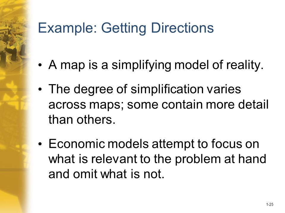 1-25 Example: Getting Directions A map is a simplifying model of reality.