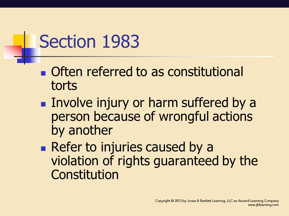 Section 1983 Often referred to as constitutional torts Involve injury or harm suffered by a person because of wrongful actions by another Refer to injuries caused by a violation of rights guaranteed by the Constitution