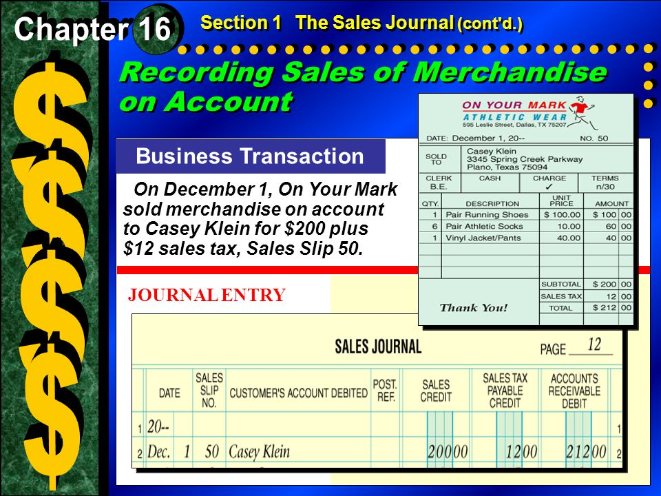 Posting a Sales Journal Entry to the Accounts Receivable Subsidiary Ledger To keep the balances of the customer accounts current, sales journal transactions are posted daily to the accounts receivable subsidiary ledger.