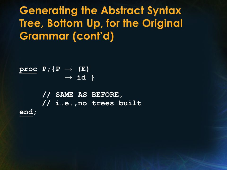 Generating the Abstract Syntax Tree, Bottom Up, for the Original Grammar (cont'd) proc P;{P → (E) → id } // SAME AS BEFORE, // i.e.,no trees built end;