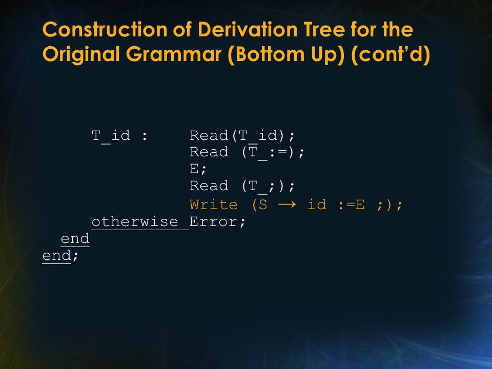 Construction of Derivation Tree for the Original Grammar (Bottom Up) (cont'd) T_id : Read(T_id); Read (T_:=); E; Read (T_;); Write (S → id :=E ;); otherwise Error; end end;