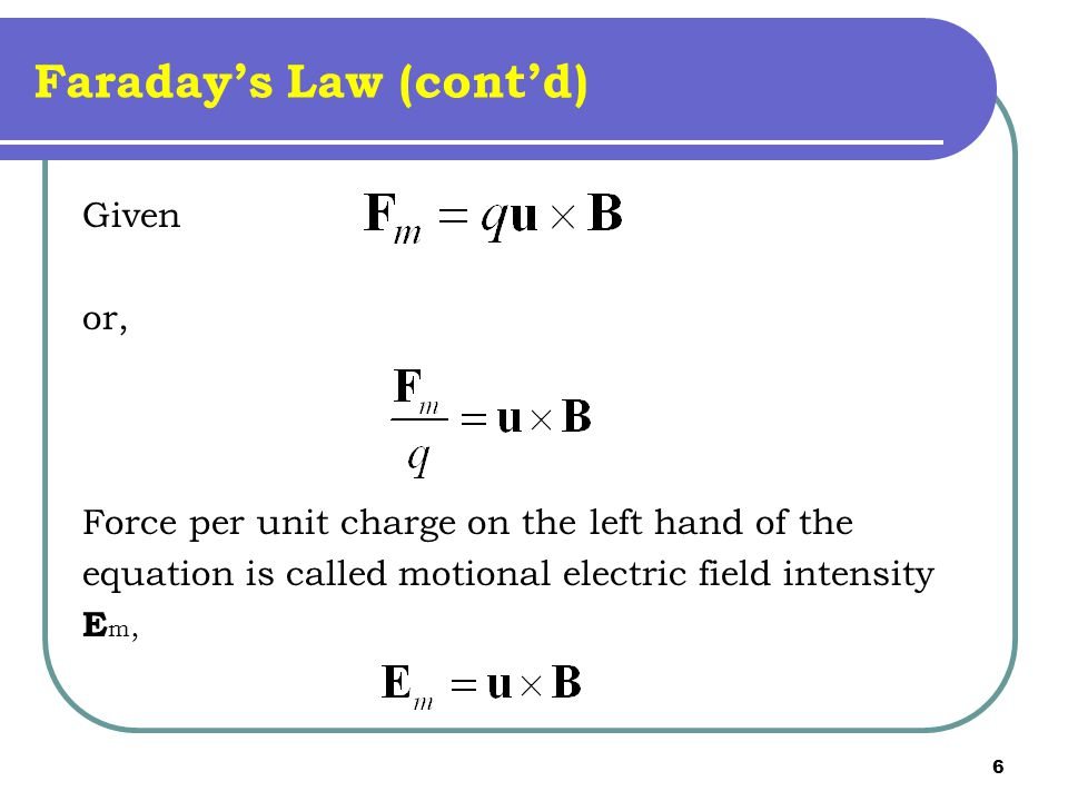 6 Faraday's Law (cont'd) Given or, Force per unit charge on the left hand of the equation is called motional electric field intensity E m,