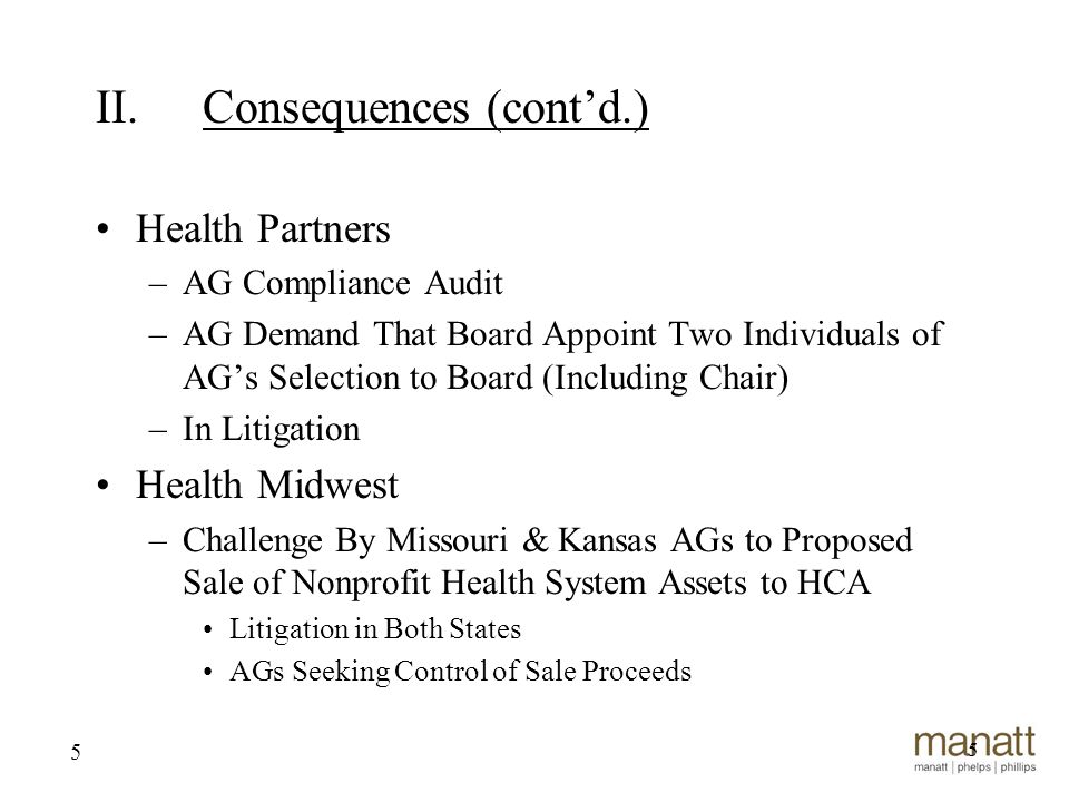 5 Health Partners –AG Compliance Audit –AG Demand That Board Appoint Two Individuals of AG's Selection to Board (Including Chair) –In Litigation Health Midwest –Challenge By Missouri & Kansas AGs to Proposed Sale of Nonprofit Health System Assets to HCA Litigation in Both States AGs Seeking Control of Sale Proceeds 5 II.Consequences (cont'd.)