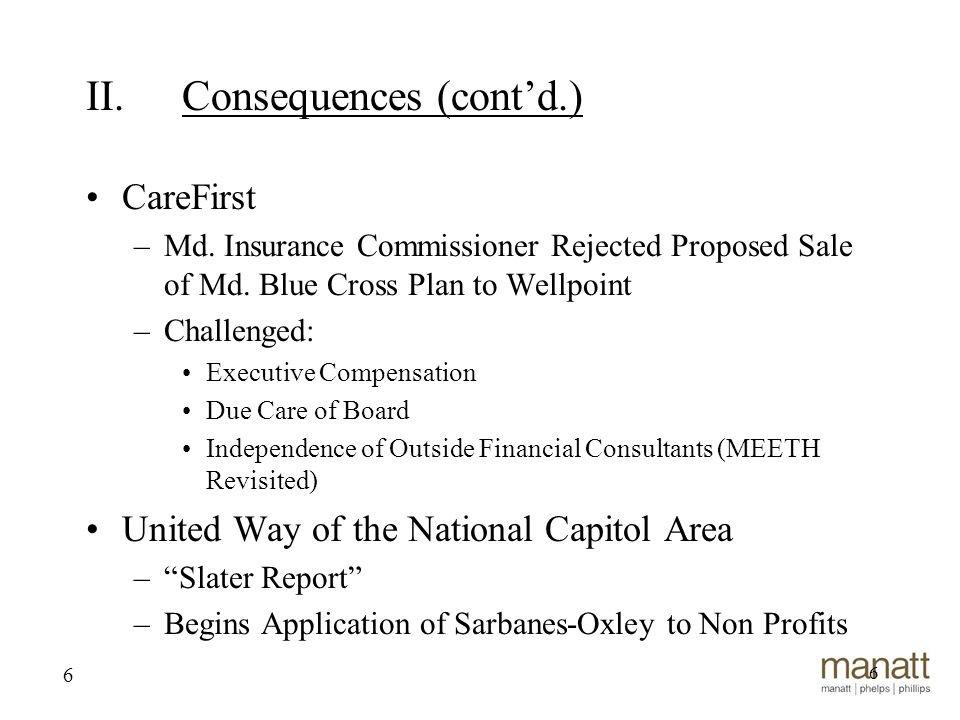 6 CareFirst –Md. Insurance Commissioner Rejected Proposed Sale of Md.