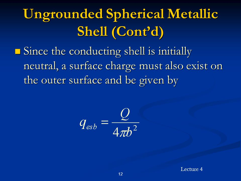 Lecture 4 12 Ungrounded Spherical Metallic Shell (Cont'd) Since the conducting shell is initially neutral, a surface charge must also exist on the out