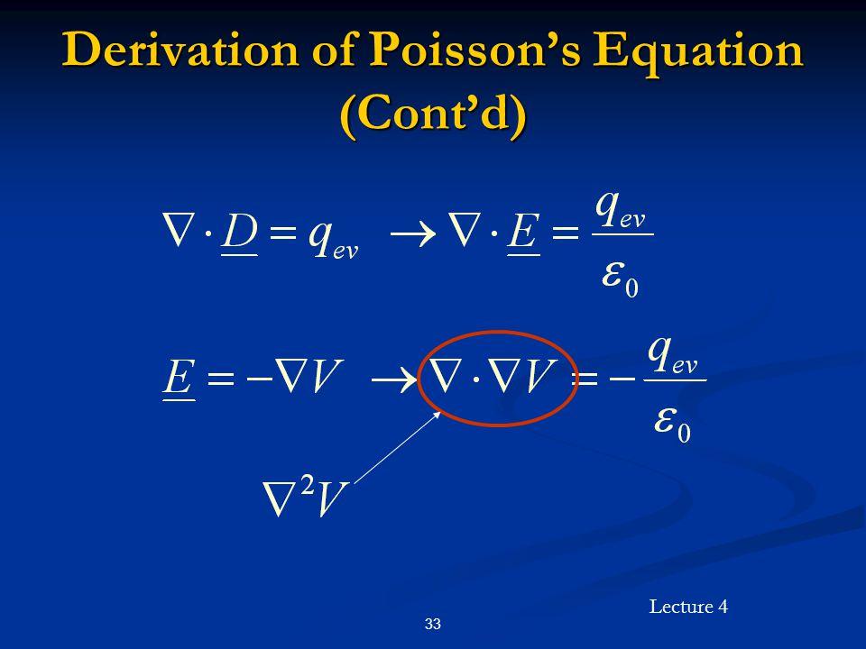 Lecture 4 33 Derivation of Poisson's Equation (Cont'd)