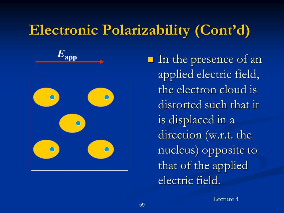 Lecture 4 59 Electronic Polarizability (Cont'd) In the presence of an applied electric field, the electron cloud is distorted such that it is displace