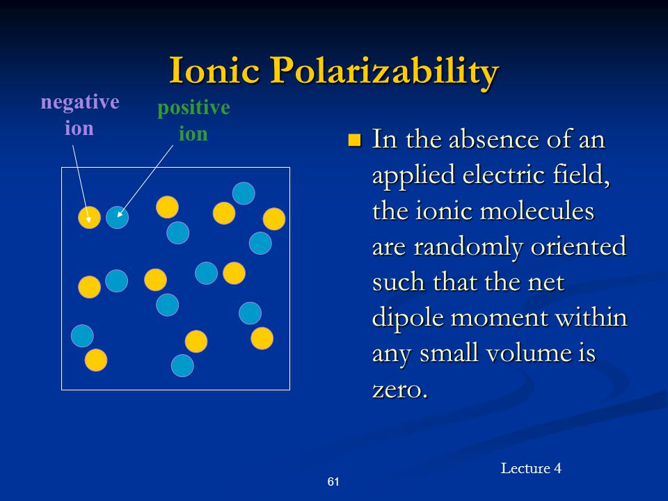 Lecture 4 61 Ionic Polarizability In the absence of an applied electric field, the ionic molecules are randomly oriented such that the net dipole mome