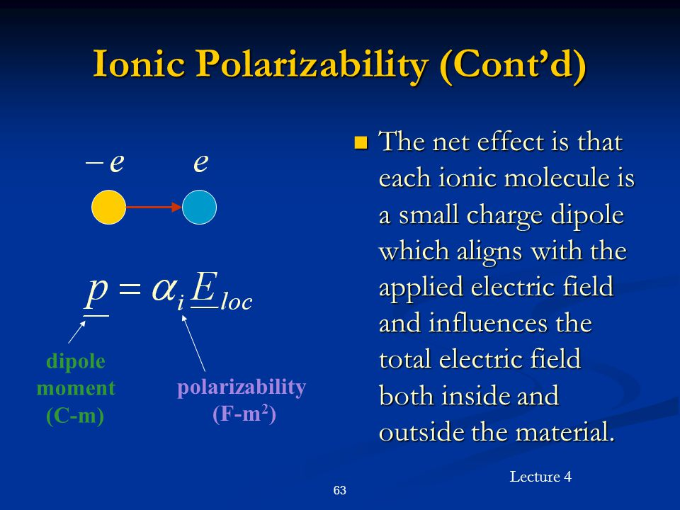 Lecture 4 63 Ionic Polarizability (Cont'd) The net effect is that each ionic molecule is a small charge dipole which aligns with the applied electric