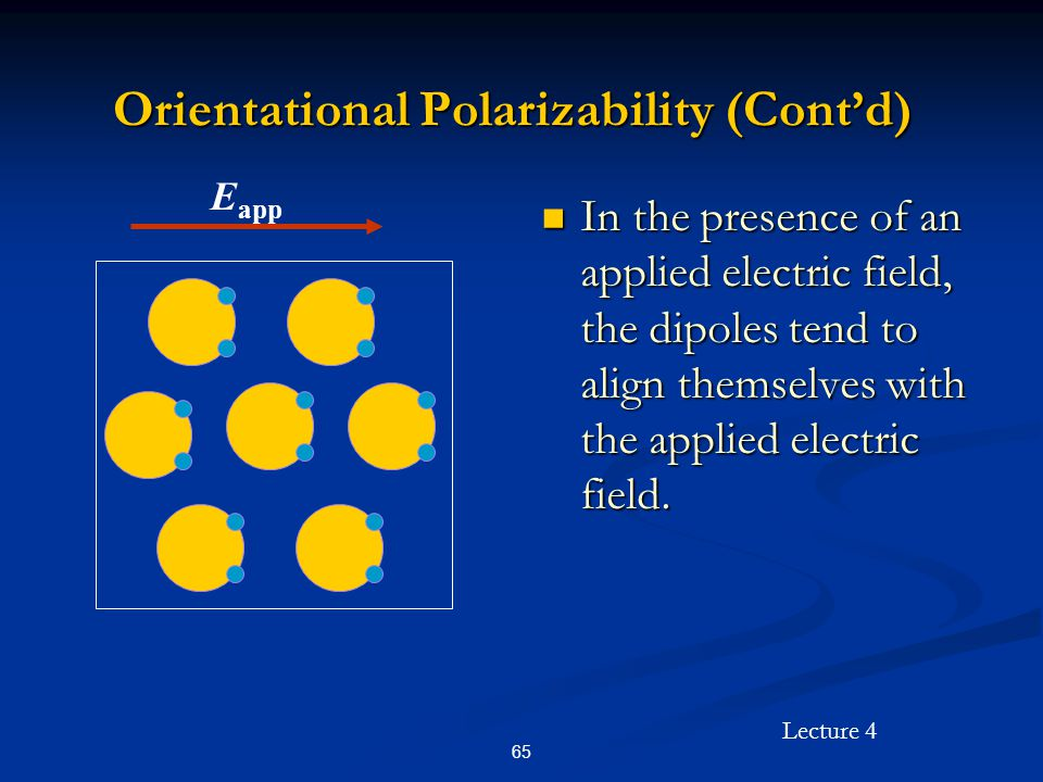 Lecture 4 65 Orientational Polarizability (Cont'd) In the presence of an applied electric field, the dipoles tend to align themselves with the applied