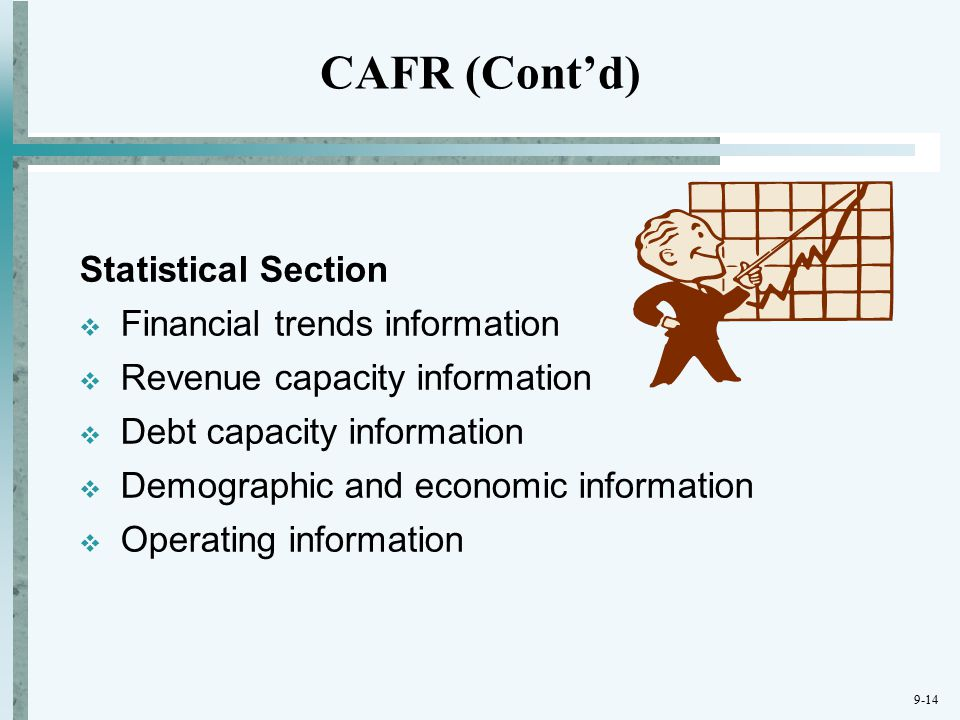 9-14 Statistical Section  Financial trends information  Revenue capacity information  Debt capacity information  Demographic and economic information  Operating information CAFR (Cont'd)