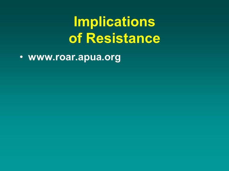 Implications of Resistance www.roar.apua.org
