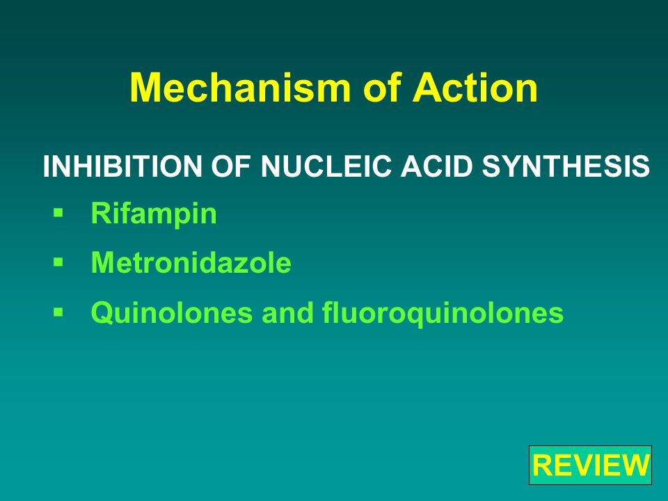 Mechanism of Action INHIBITION OF NUCLEIC ACID SYNTHESIS  Rifampin  Metronidazole  Quinolones and fluoroquinolones REVIEW