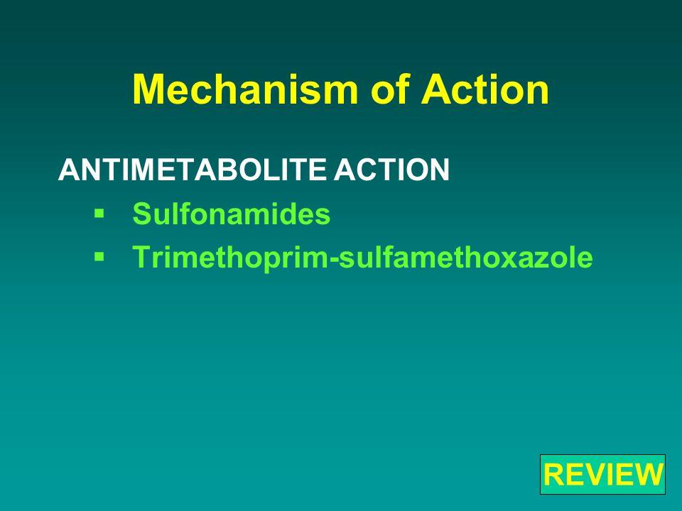 Mechanism of Action ANTIMETABOLITE ACTION  Sulfonamides  Trimethoprim-sulfamethoxazole REVIEW