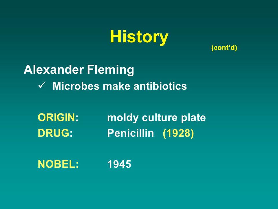 History Alexander Fleming Microbes make antibiotics ORIGIN:moldy culture plate DRUG:Penicillin(1928) NOBEL:1945 (cont'd)