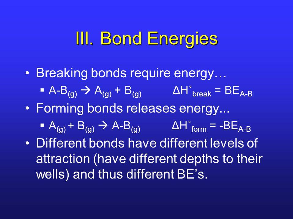 III. Bond Energies Breaking bonds require energy…  A-B (g)  A (g) + B (g) ΔH˚ break = BE A-B Forming bonds releases energy...  A (g) + B (g)  A-B