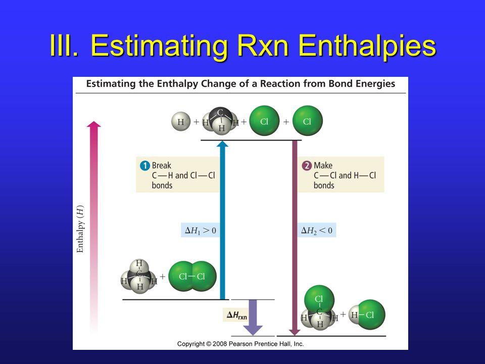 III. Estimating Rxn Enthalpies