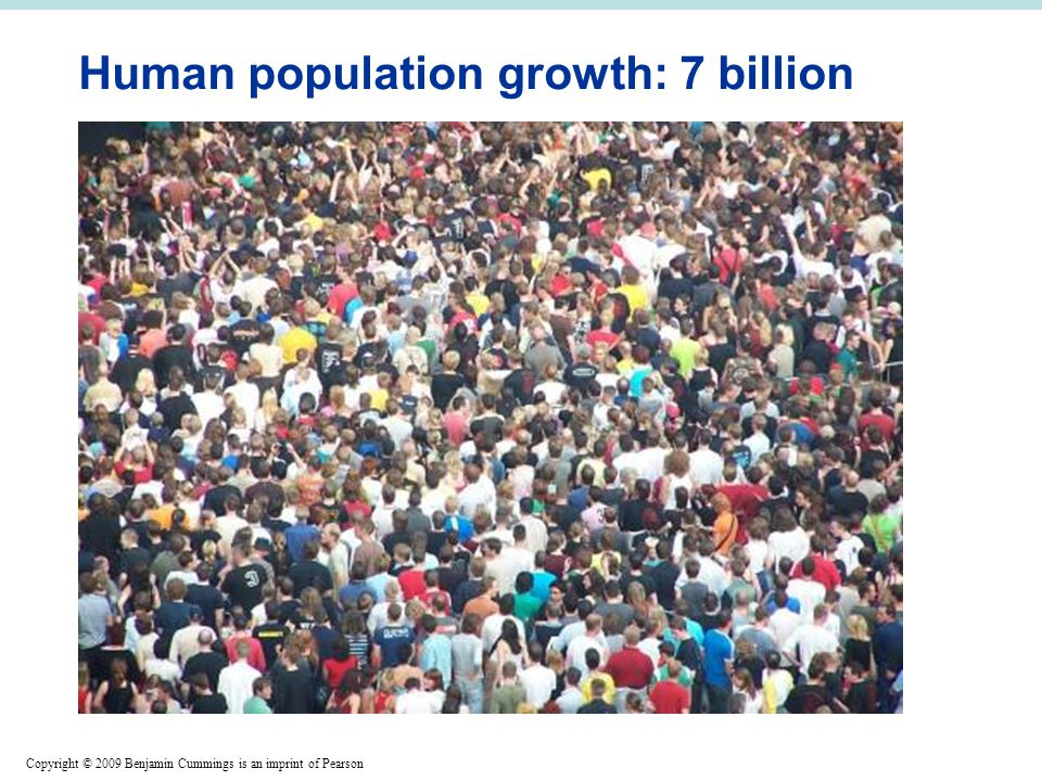 Copyright © 2009 Benjamin Cummings is an imprint of Pearson Human population growth: 7 billion