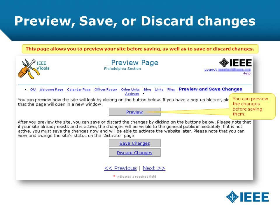 12-CRS-0106 REVISED 8 FEB 2013 Preview, Save, or Discard changes You can preview the changes before saving them.