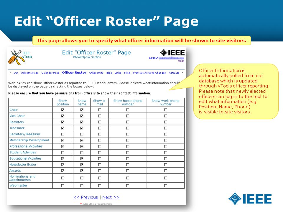 12-CRS-0106 REVISED 8 FEB 2013 Edit Officer Roster Page This page allows you to specify what officer information will be shown to site visitors.
