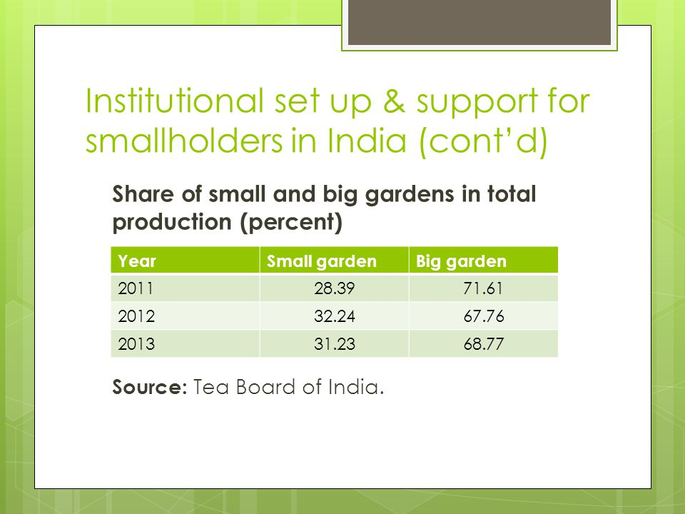 Institutional set up & support for smallholders in India (cont'd)  Smallholder in India = tea growers holding up to 10.12 hectares  Average size = < 1 hectare  More than 200 000 smallholders in India  Green leaves supplied to private, stand-alone bought leaf factories (BLFs) directly or through middlemen