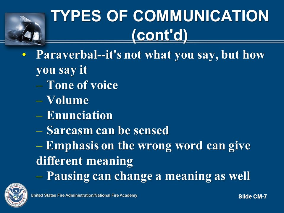 TYPES OF COMMUNICATION (cont d) Paraverbal--it s not what you say, but how you say itParaverbal--it s not what you say, but how you say it – Tone of voice – Volume – Enunciation – Sarcasm can be sensed – Emphasis on the wrong word can give different meaning – Pausing can change a meaning as well Slide CM-7
