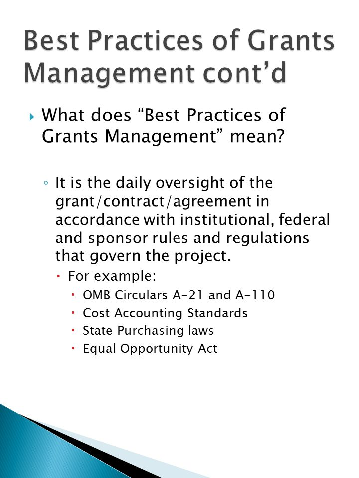  What does Best Practices of Grants Management mean.