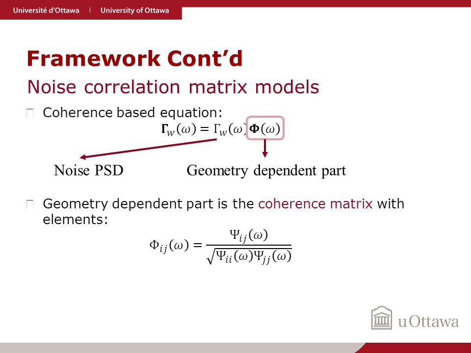 Framework Cont'd Noise correlation matrix models Geometry dependent partNoise PSD