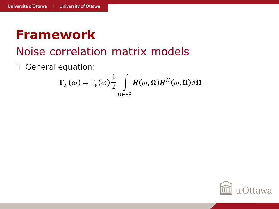 Framework Noise correlation matrix models