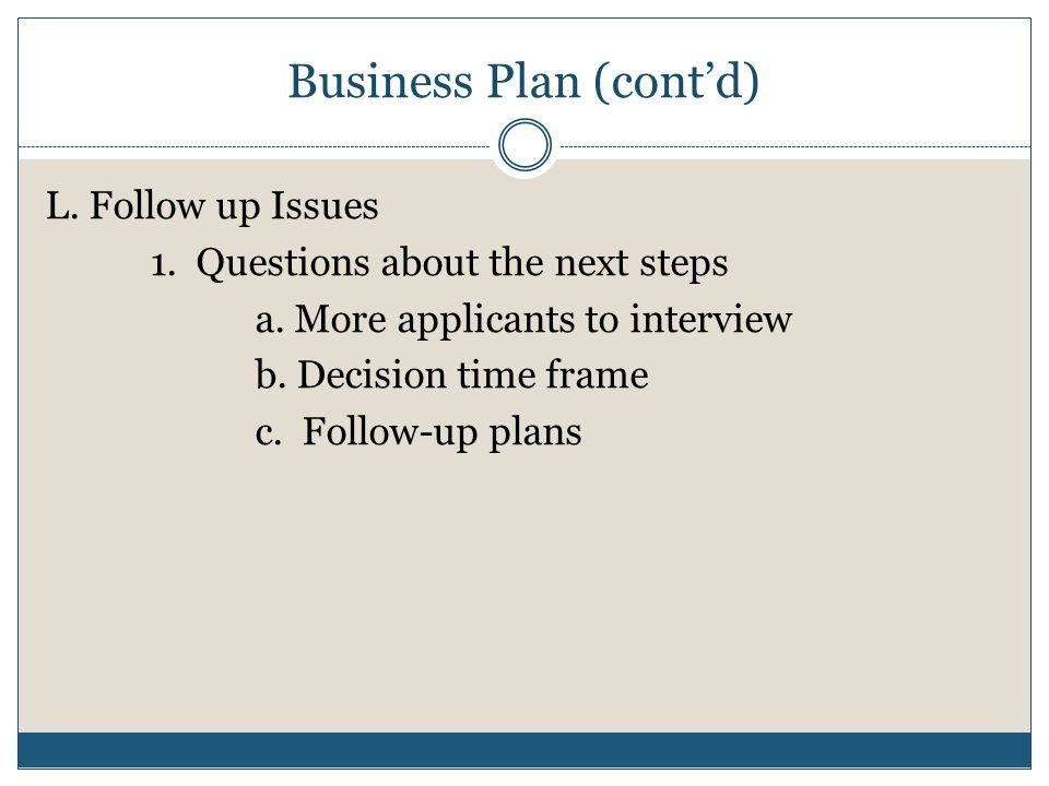 Business plan for interview
