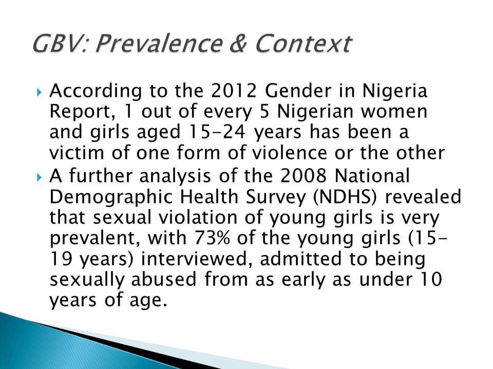  According to the 2012 Gender in Nigeria Report, 1 out of every 5 Nigerian women and girls aged 15-24 years has been a victim of one form of violence
