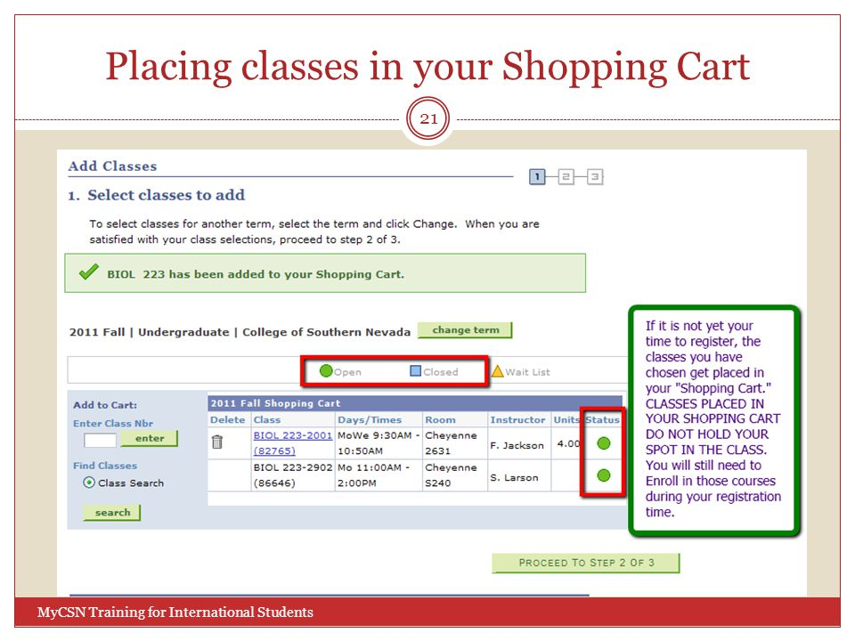 Placing classes in your Shopping Cart 21 MyCSN Training for International Students